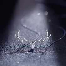 镶施华洛世奇锆石项链女纯银一鹿有你一路锁骨链简约潮网红ins