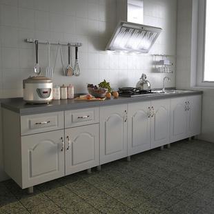 不锈钢碗橱柜简易厨房柜子灶台柜组装 出租房用经济型整体家用柜