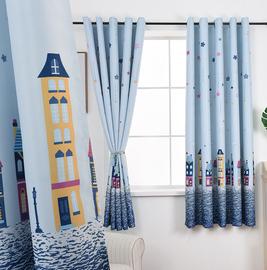 儿童房窗帘男孩女孩卧室全遮光布成品飘窗小窗户短款半帘2020新款