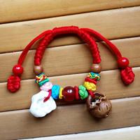 宝宝婴儿童辟邪压惊桃核手串猪精骨桃木篮防惊吓端午节五彩绳手链