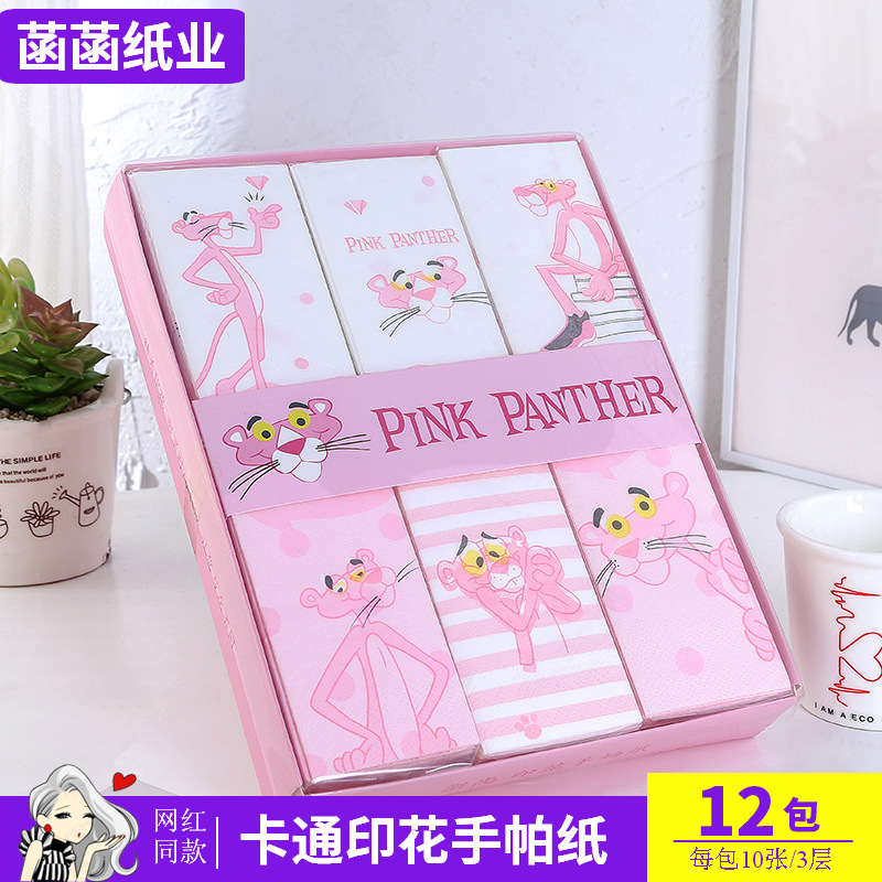 Cartoon printed handkerchief paper bag with Pink Leopard Design Portable napkin 12 package