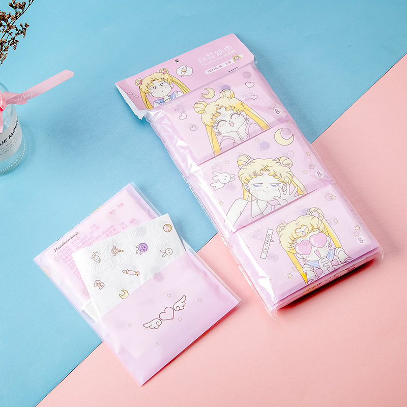 Colorful purse printed handkerchief paper with lovely pattern tissue beautiful girl toilet paper small package napkin 9 packages