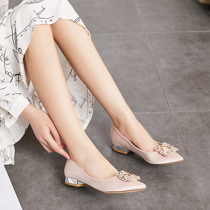 涉趣2019新款网红晚晚鞋夏季仙女风百搭女时装单鞋子尖头粗跟凉鞋