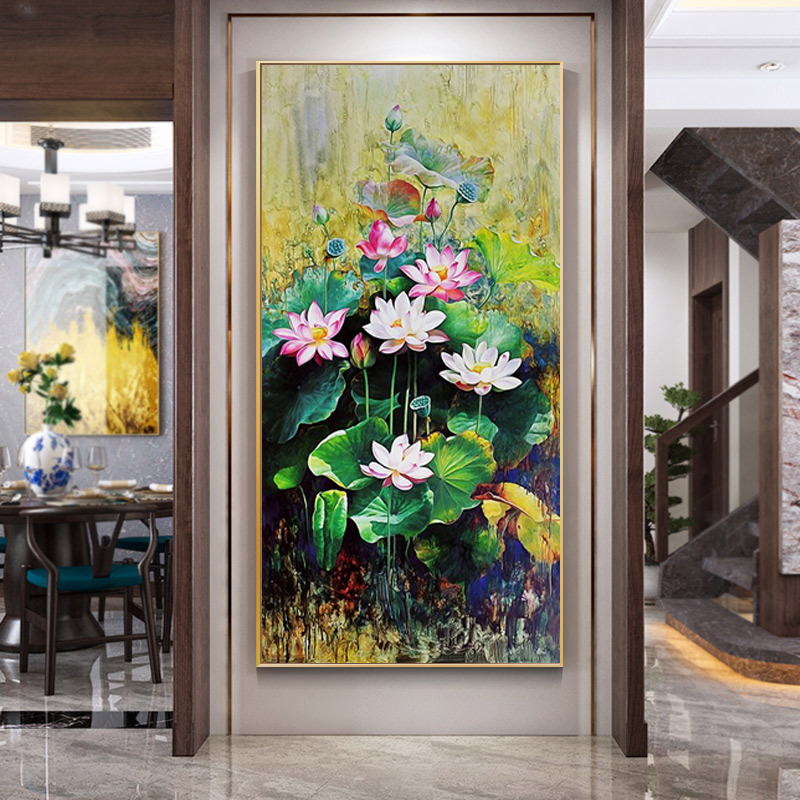 Diamond painting 5D full diamond 2020 new modern living room porch lotus home and Wanshixing cross stitch brick and stone embroidery
