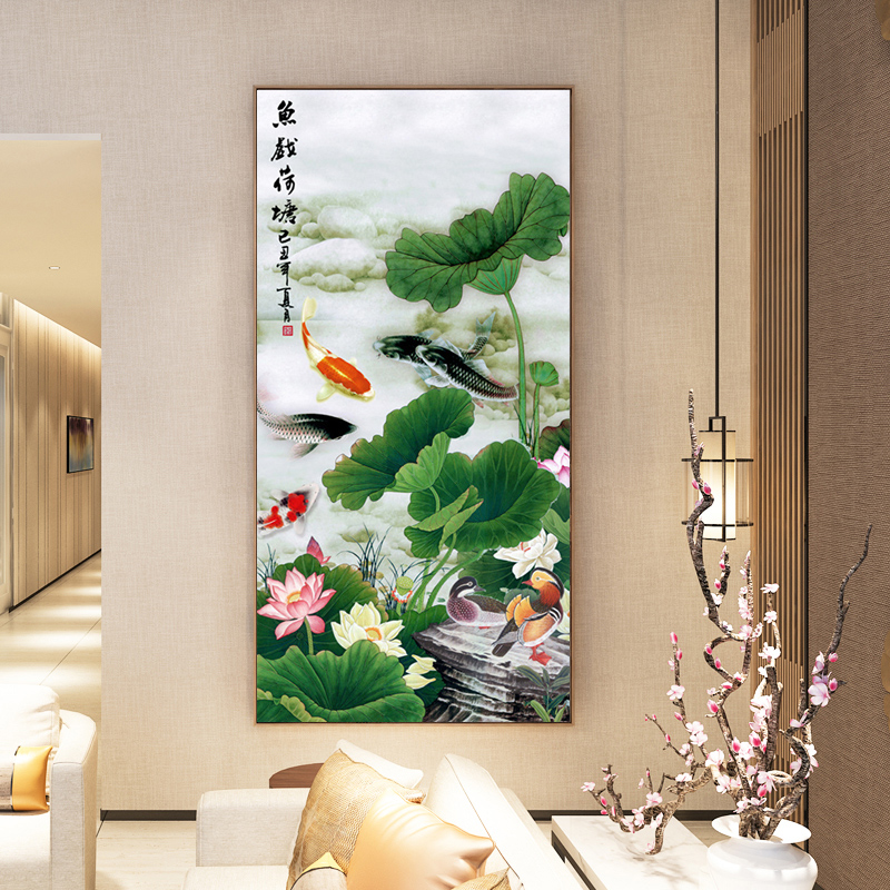 2020 new 5D diamond painting dot stick drill cross stitch full drill living room porch large lotus nine fish picture brick show
