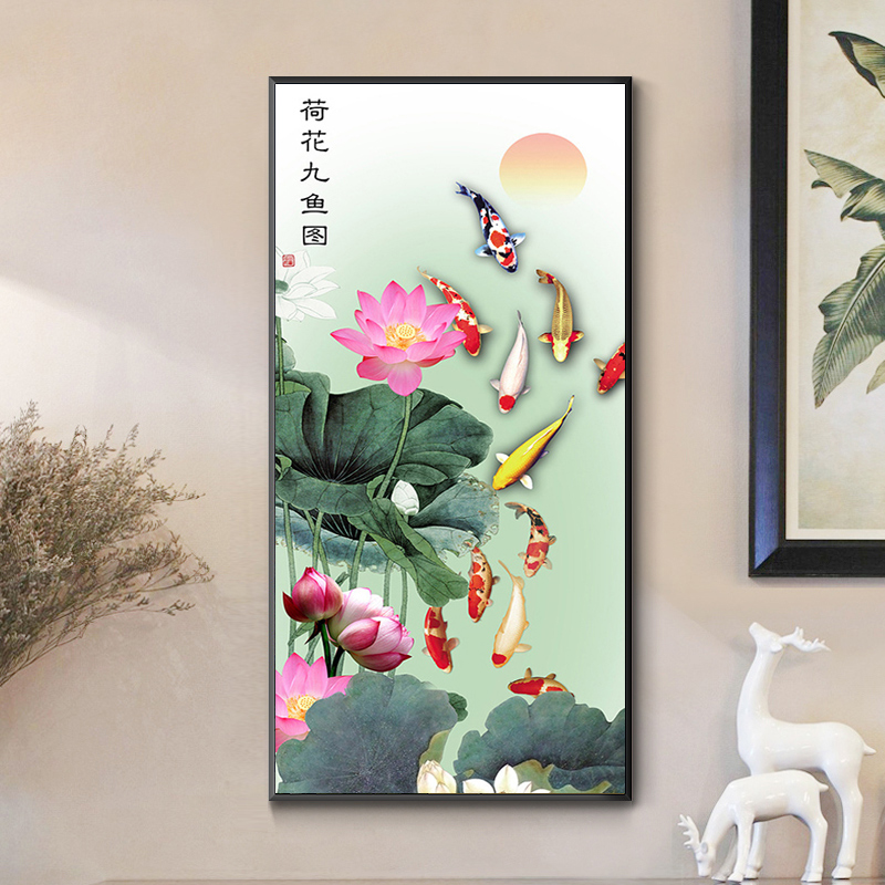 Lotus nine fish cross stitch 2020 new brick and stone embroidery living room diamond painting vertical version porch