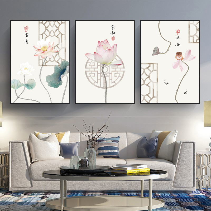 5D diamond painting full of diamond new Chinese living room Zen lotus triple painting diamond embroidery large simple bedroom brick and stone painting