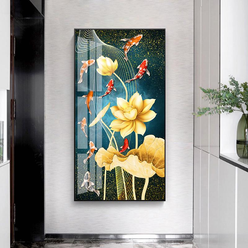 Cross stitch 2020 new Lotus nine fish simple modern living room vertical version porch corridor 5D full of diamonds