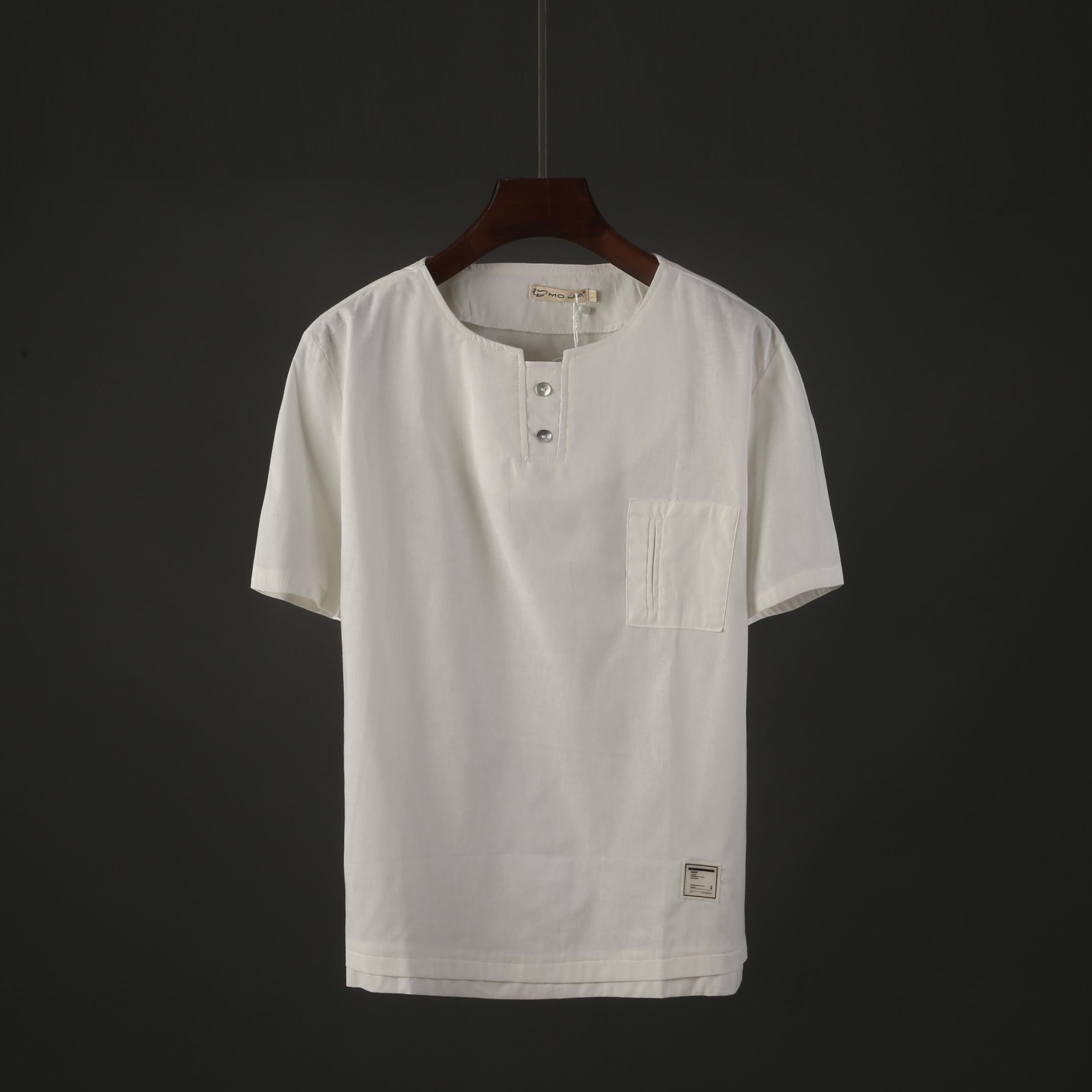 日系新款男士宽松短袖T恤夏季百搭纯色简约帅气男装半袖上衣171011月30日最新优惠