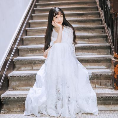 大擺仙女裙學生甜美超仙森系少女溫柔風長裙白色連衣裙禮服女仙氣