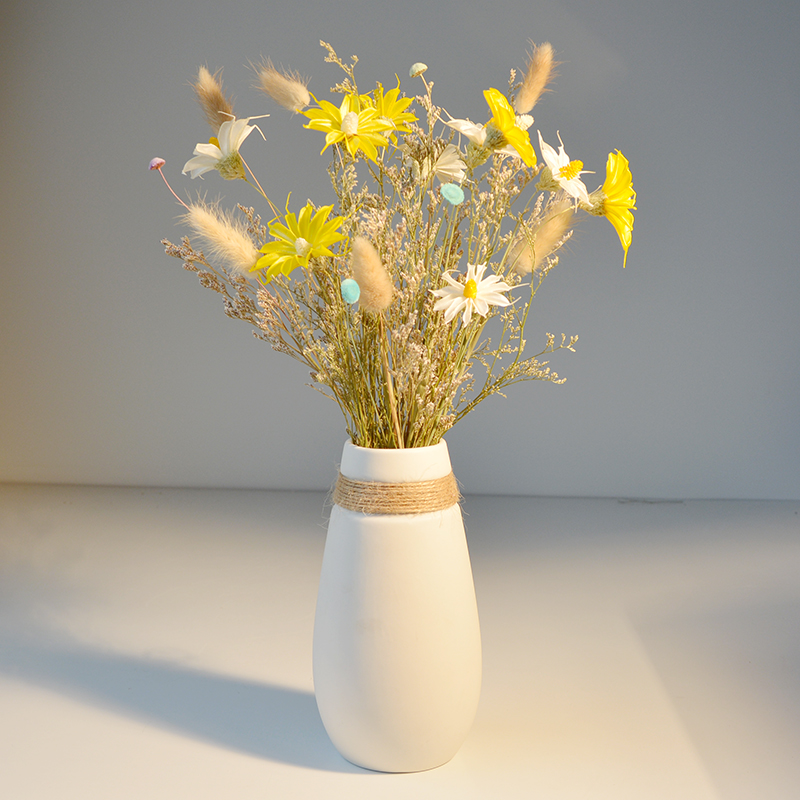 Vase dry flower ornaments Nordic modern simple small fresh decoration home living room ornaments creative ceramic flower arranging device