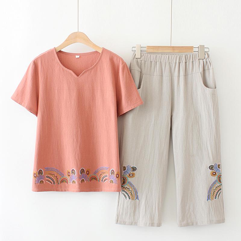 夏季妈妈短袖两件套装中年女装大码棉绣花显瘦T恤中老年洋气上衣