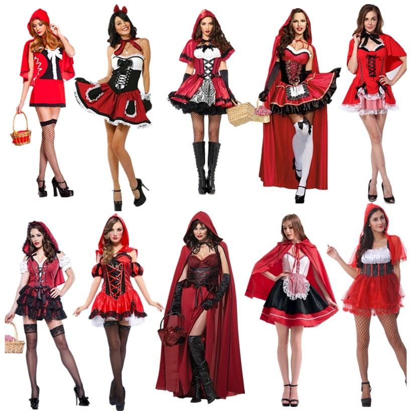 万圣节cosplay小红帽服装 女巫表演服女装 经典童话故事角色扮演