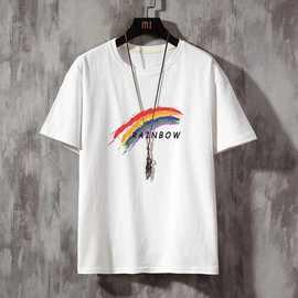品牌乔纳阿迪达夏季男士短袖t恤纯棉白色上衣宽松半袖体恤潮牌潮图片