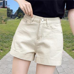 闊腿牛仔短褲女夏季2020新款高腰a字直筒粉色寬鬆顯瘦百搭熱褲子