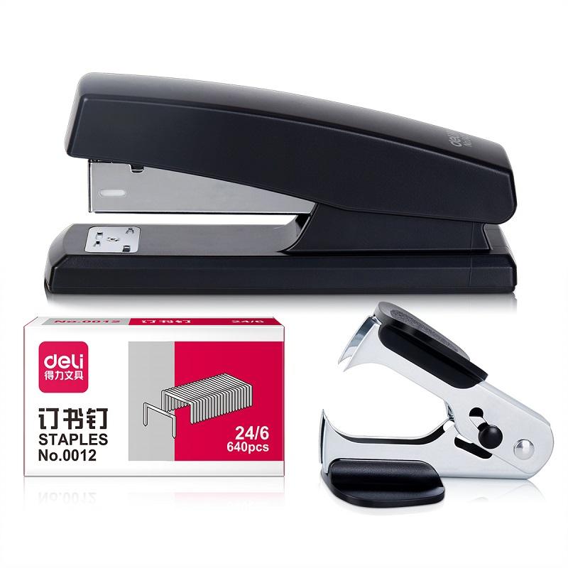 得力订书机套装 12号通用钉订书机 起订器+订书针+订书机0354