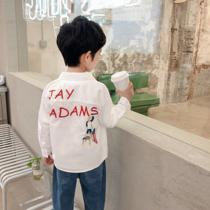 童装男童纯棉长袖衬衫2020新款洋气儿童上衣韩版春秋中大童白衬衣