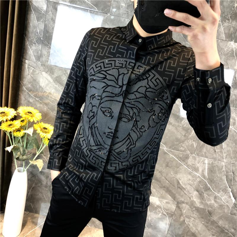 欧洲站男装衬衫男士长袖韩版潮流2020新款春季帅气美杜莎印花衬衣