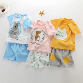 夏儿童套装男童纯棉短袖T恤女童短裤两件套1-2-3-4-5-6岁宝宝衣服