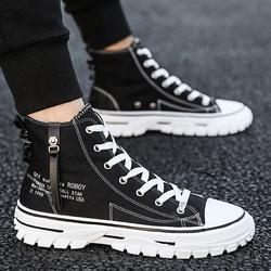 帆布鞋2020透气新款韩版潮流男鞋子高帮百搭休闲板鞋夏季潮鞋秋季