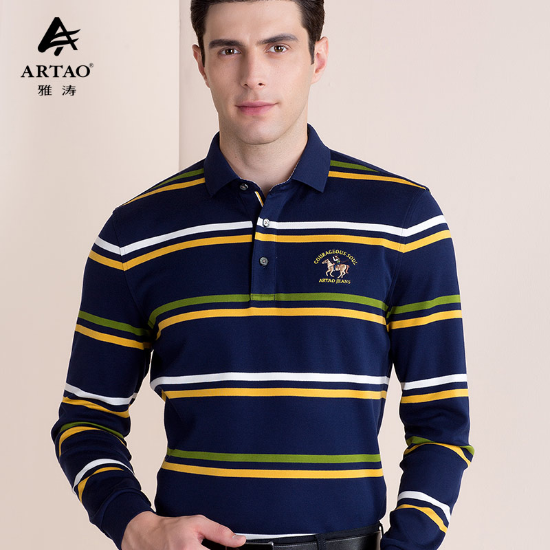 Yato polo shirt mens cotton polo shirt spring and autumn long sleeve embroidered t-shirt mens Lapel casual Paul Shirt Top