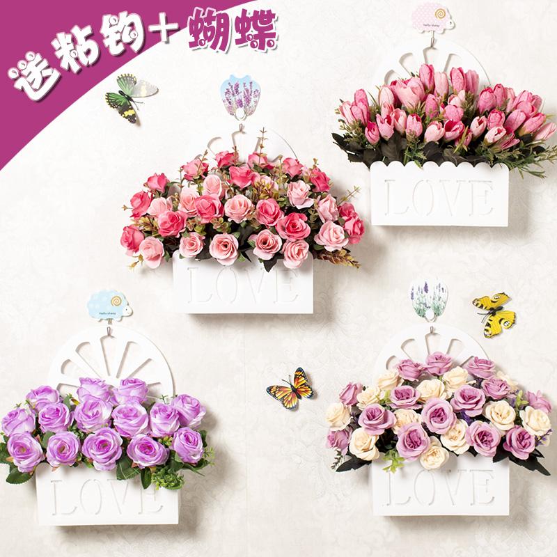 掛籃模擬玫瑰花假花套裝絹花電視牆卧室隔斷家居裝飾擺設花壁掛花