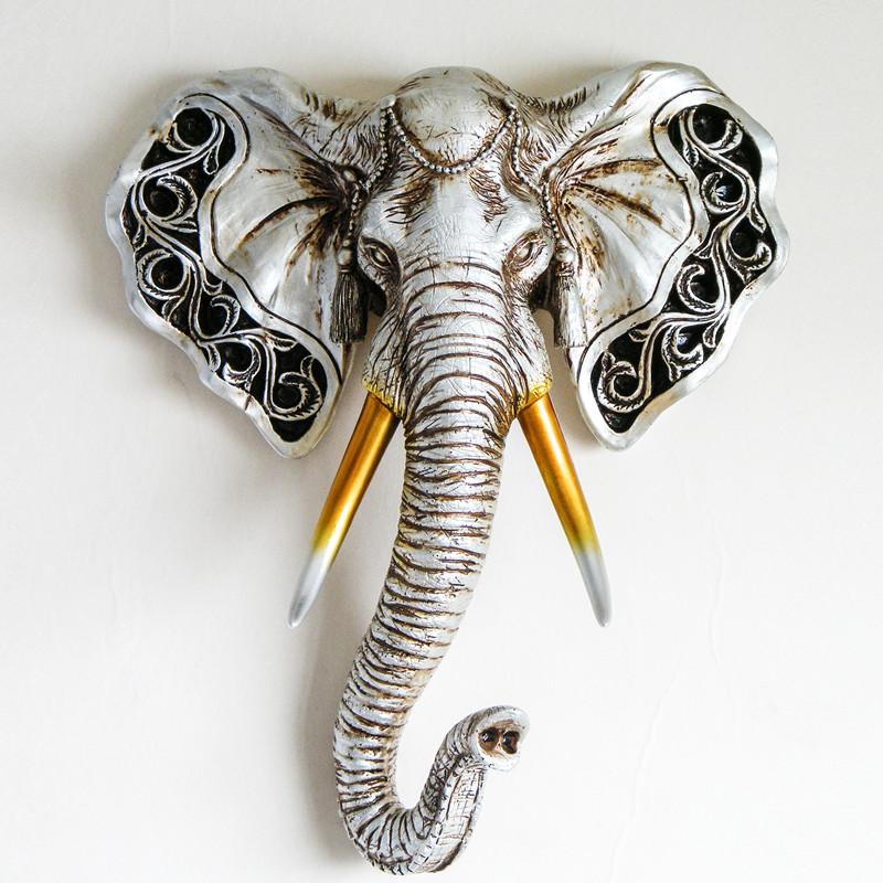 复古银大象动物头壁挂