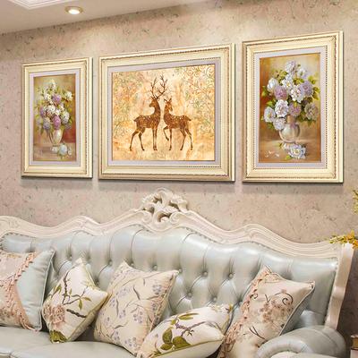 麋鹿客厅装饰画简欧沙发背景墙大气三联挂画美式油画餐厅欧式壁画
