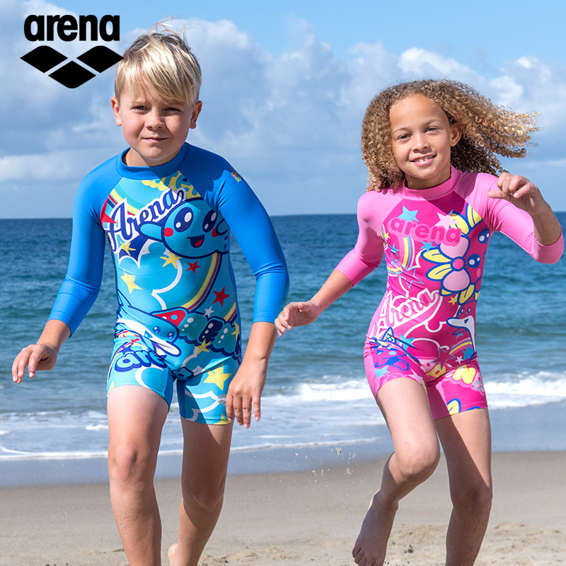 阿瑞娜儿童专业男童中大童游泳衣不包邮