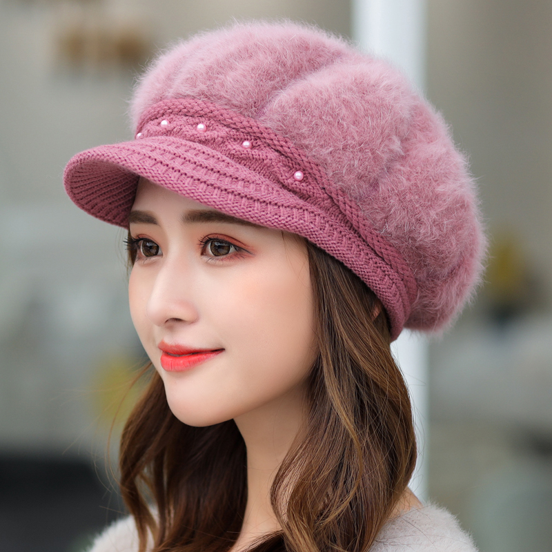 Hat female autumn and winter add down add thick ear protection warm hat Bailey hat duck tongue hat knitting hat Rabbit Hair Hat Wool Hat