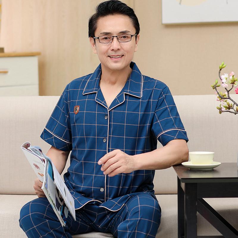 简单睡衣男夏季纯棉短袖长裤中老年老人家居服男式加大码全棉爸爸