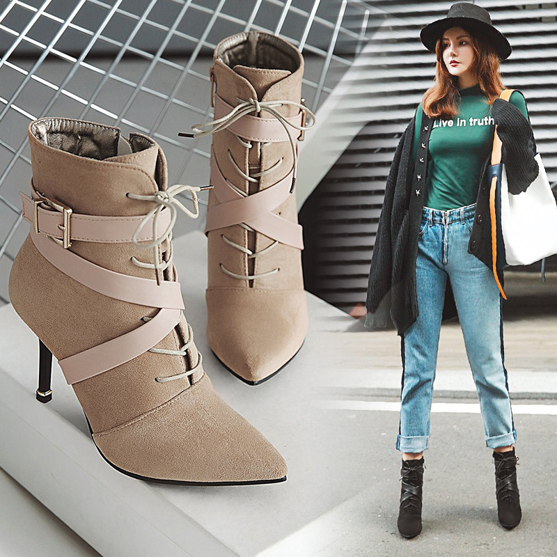 Lightweight pointed boots womens autumn / winter 2020 new splicing sexy high heeled shoes thin heel cross strap large size and ankle