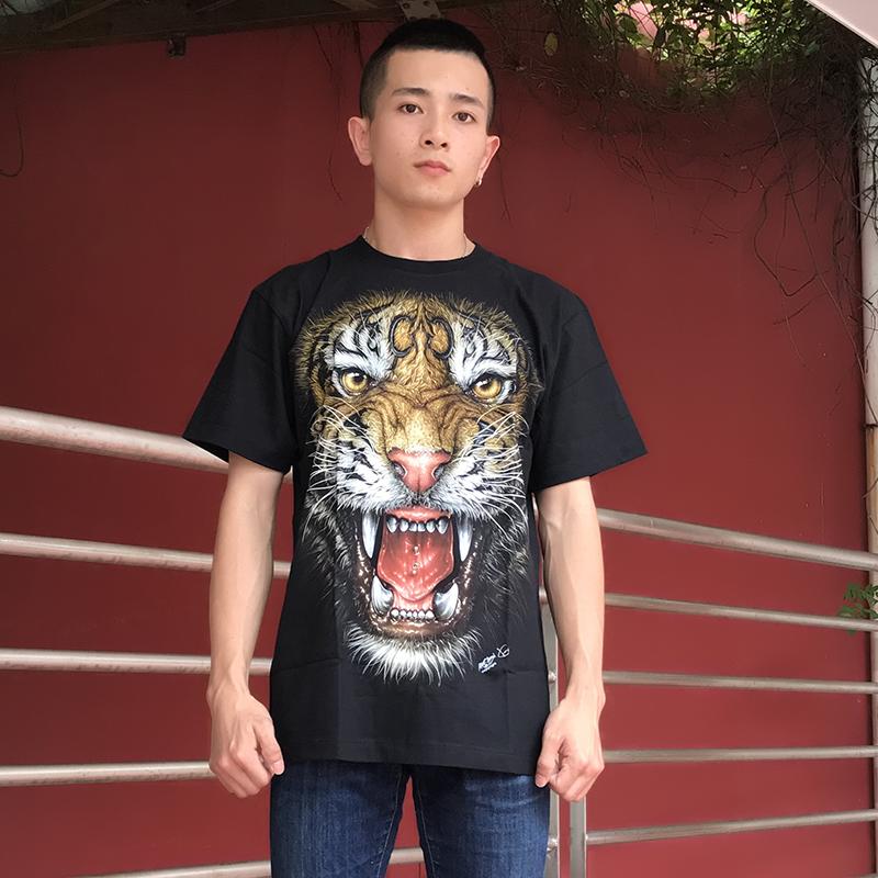 泰国进口个性虎头新款3D老虎头男士夜光短袖T恤 潮男夏款  半袖淘宝优惠券