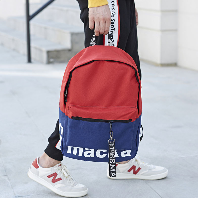 Japanese simple canvas schoolbag mens fashion trend Harajuku backpack for junior high school students