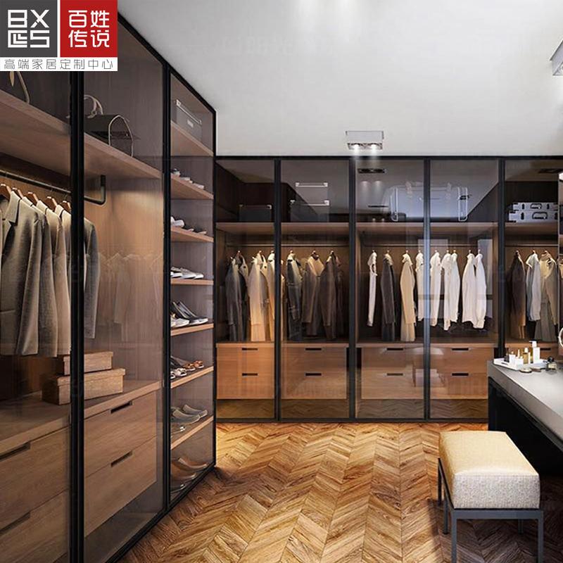 百姓传说西安整体定制极简风格灰玻璃门衣柜爱格板衣帽间全屋定制