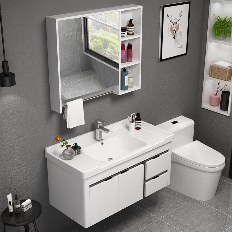 657.15元包邮厕所圆盆一体盆pvc现代镜柜浴室柜