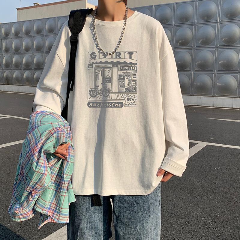 秋季�却罴�色需要妖界�L袖T恤��s�n版��松潮流印@花打底衫A597TP22