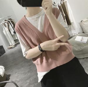 针织马甲背心女式早秋显瘦v领短款韩版糖果色学生无袖针织衫上衣