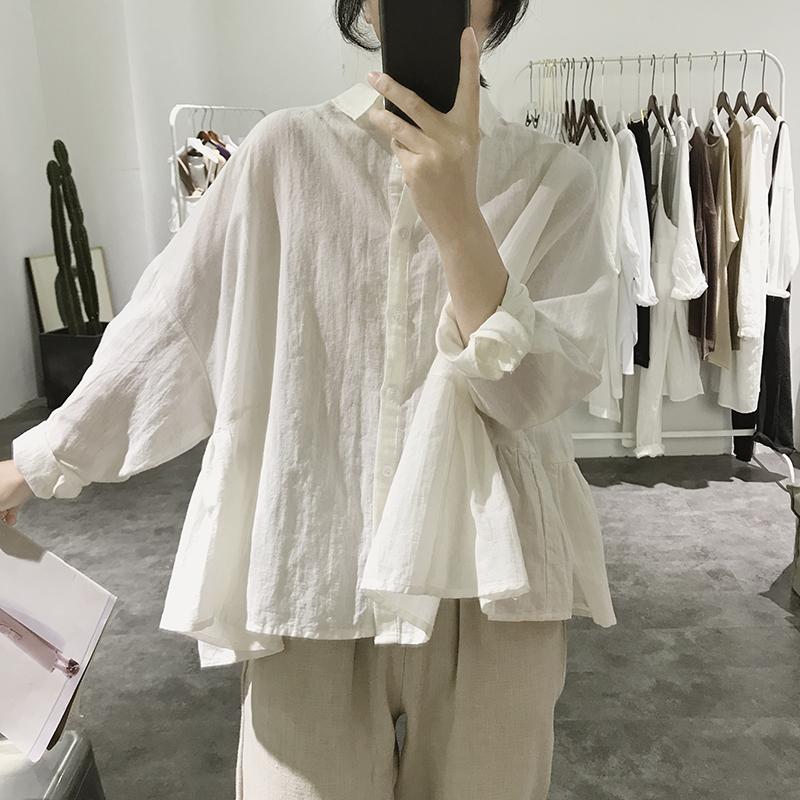 棉麻衬衫女春秋新款宽松大码显瘦韩版纯色长袖高腰减龄上衣娃娃衫