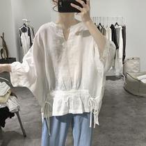 亚麻衬衫女夏季新款系带套头宽松大码显瘦前短后长七分袖蝙蝠上衣