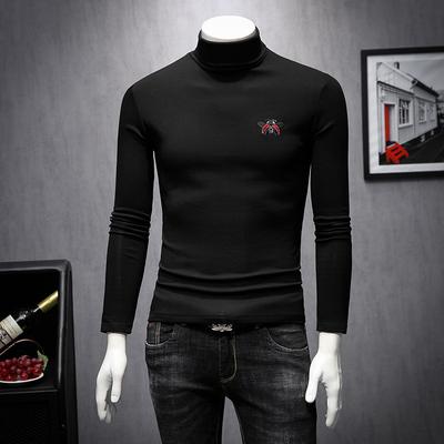 秋冬季新款高领刺绣加厚薄绒长袖t恤男士打底衫2023-1-9960-p90