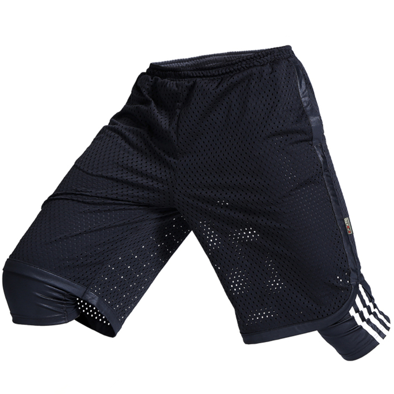 Summer mens light proof sports shorts quick drying breathable marathon running basketball pants fake two fitness Capris