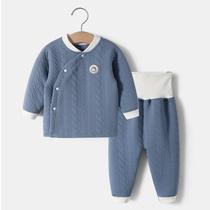 婴儿衣服秋冬套装分体高腰护肚女童保暖纯棉内衣男宝宝薄夹棉春款