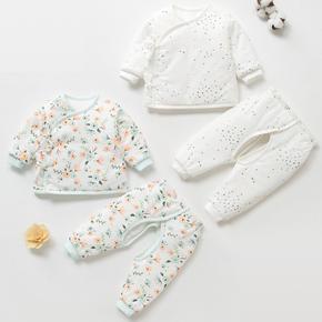 新生儿秋冬季薄棉衣03个月宝宝保暖衣服夹棉初生婴儿加厚薄棉套装