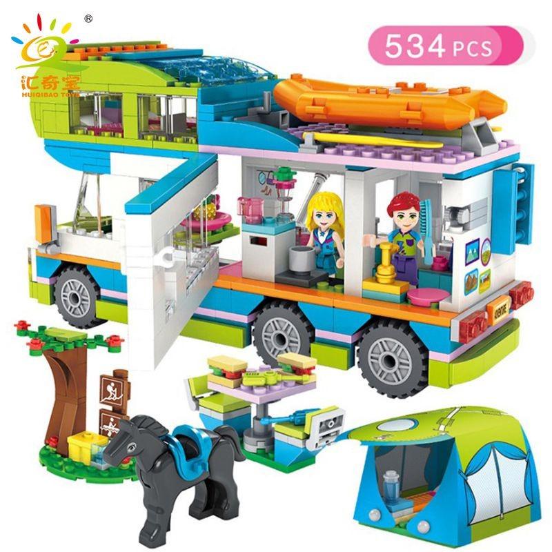 達高1030露營車好朋友女孩街景城市創意拼插積木玩具速賣通爆款