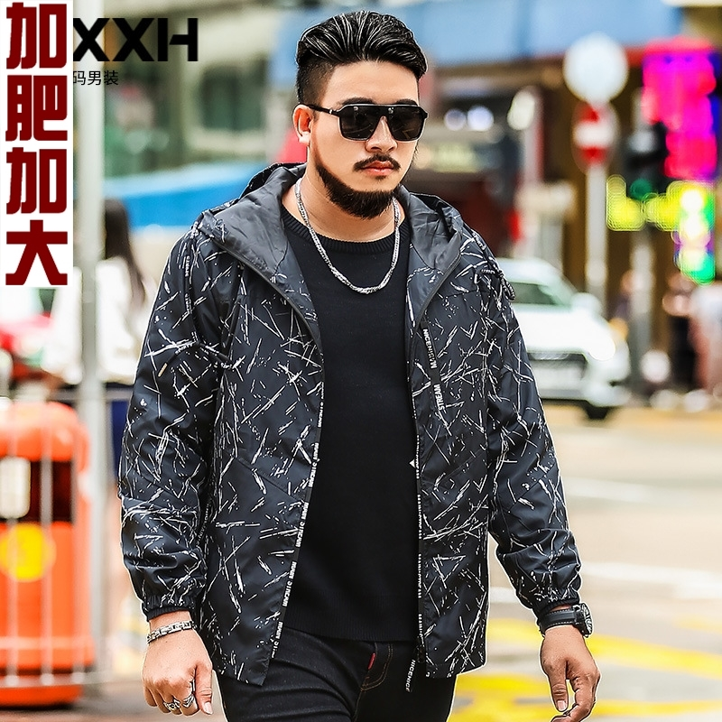 Oversized mens spring and autumn sweaters and jackets loose, casual and fat, plus printed fat mans coat, 260 Jin