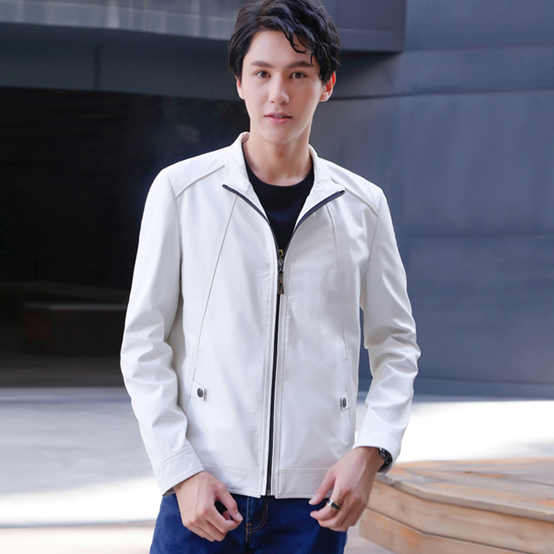 Spring and autumn mens winter Leather Slim collar short leather jacket mens Leather Motorcycle leisure Korean version