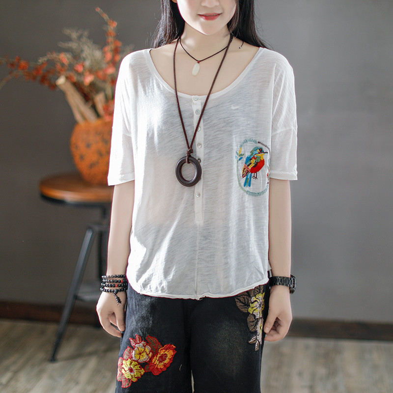 Coffee with rain in summer cotton embroidery art original T-SHIRT - a female loose breasted slub cotton short sleeved shirt