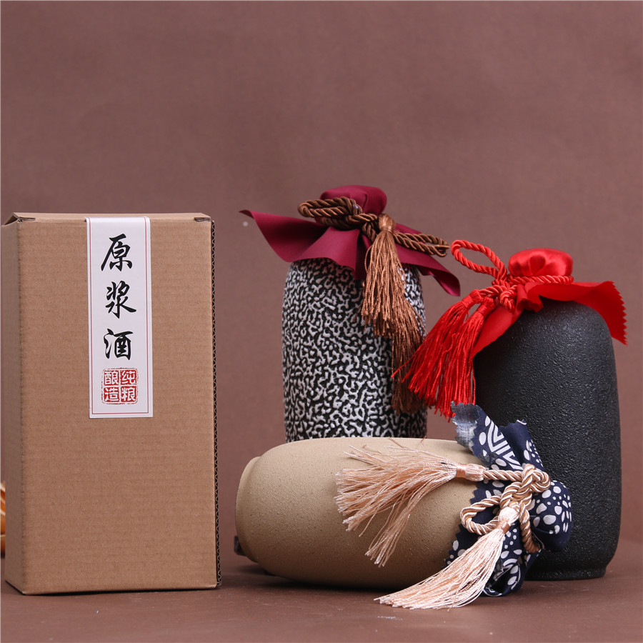 Package mail 1 kg frosted bottle Yixing antique wine jar frosted coarse pottery clay wine bottle wine set wine jar