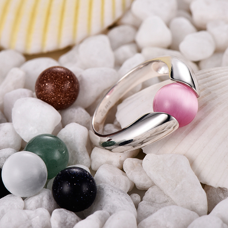 925 Silver Ring female replaceable stone semi gem personality fashion creative DIY ring red coral stone ring
